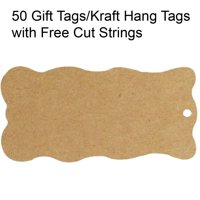 Wrapables® 50 Gift Tags/Kraft Hang Tags with Free Cut Strings for Gifts, Crafts & Price Tags - Wavy Tag