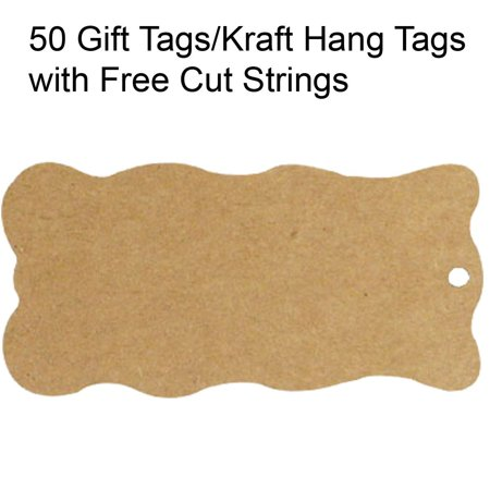 Wrapables® 50 Gift Tags/Kraft Hang Tags with Free Cut Strings for Gifts, Crafts & Price Tags - Wavy Tag These tags are the perfect gift accessory.