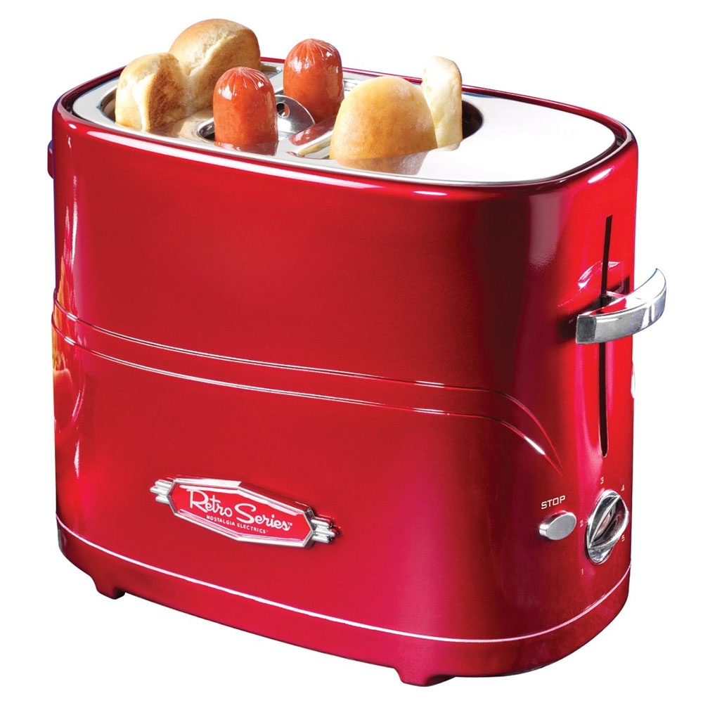 Nostalgia Electrics HDT600RETRORED 120-Volt Retro Red Pop-Up Hot Dog Toaster