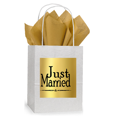 Black And White Gift Bags (Just Married White and Gold Themed Small Party Favor Gift Bags Stickers Tags)