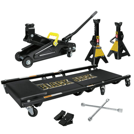 2 Ton Jack Stands - 2 Ton Blackjack Jack Combo Kit with Trolley Jack, 1 Pair of Jack Stands, Folding Creeper, Lug Wrench, and 1 Pair of Anti-Skid Chocks