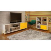 Nacka TV Stand 1.0 with 4 shelves in White and Yellow