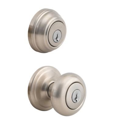Kwikset 991 Juno Keyed Entry Knob and Single Cylinder Deadbolt Combo Pack featuring SmartKey®,Satin Nickel, (Keyed American Cylinder)