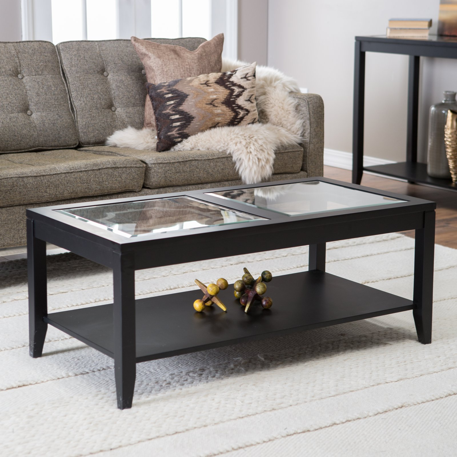 Shelby Glass Top Coffee Table with Quatrefoil Underlay Walmart