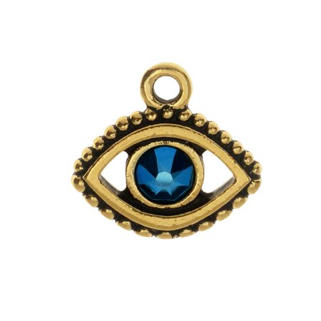 TierraCast Pewter Charm, Evil Eye with Swarovski Crystal 15mm, 1 Piece, Antiqued Gold Plated