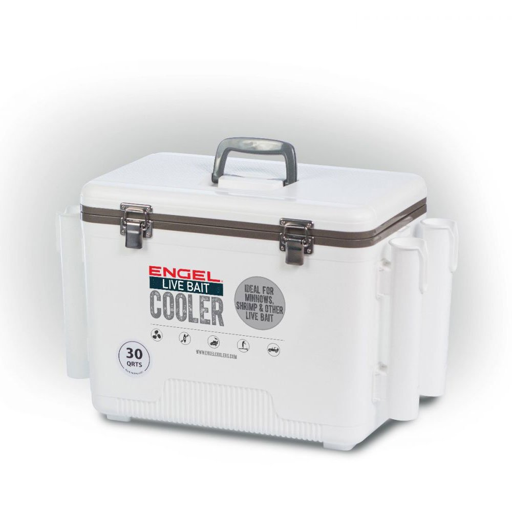 Engel 30 Durable Quart Live Bait Dry Box and Cooler with Rod Holders, White