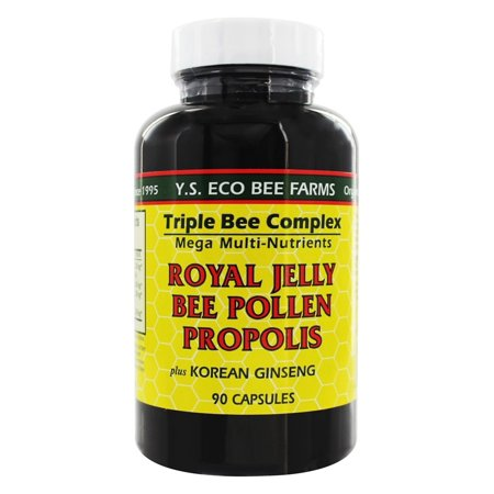 Ys Organic Bee Farms   Triple Bee Complex   Royal Jelly  Bee Pollen Propolis   Korean Ginseng   90 Capsules