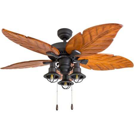 Prominence Home 50678-35 Deer Mountain Tropical 52-Inch Aged Bronze Indoor Ceiling Fan, Lantern LED Multi-Arm Dark Cherry Hand Carved Wood Blades