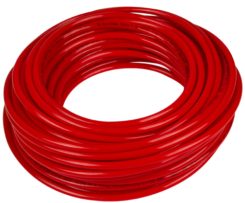 Soft 70A Metric Red Opaque High-Temperature Silicone Rubber for Air and Water - Inner Diameter 7 mm - Outer Diameter 10 mm - 50 ft