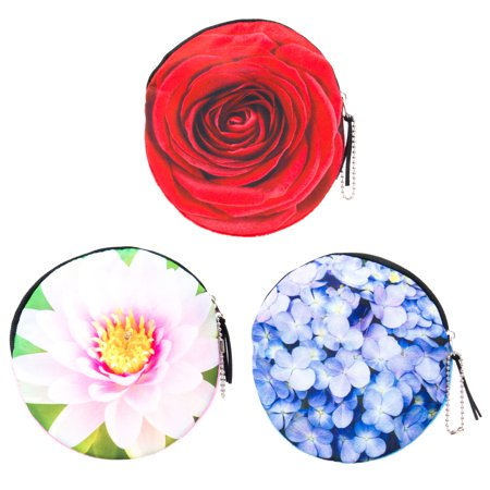 Floral Coin Purse Set for Women, Girls, Tween 3 PCs Pack- Small Round Money Wallets with Photoreal Flowers and Zipper