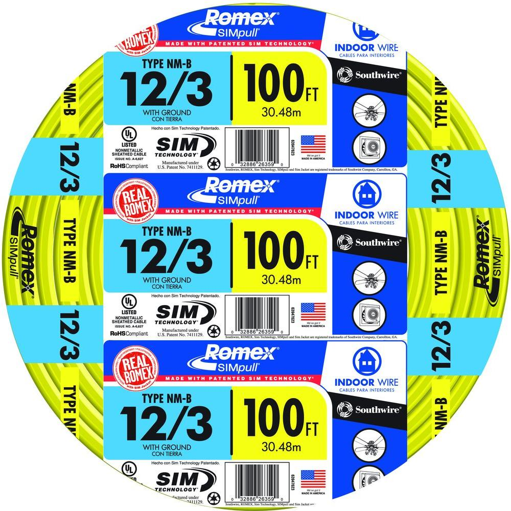 Southwire 63947628 100' 12/3 with ground Romex brand SIMpull residential indoor electrical wire type NM-B Yellow