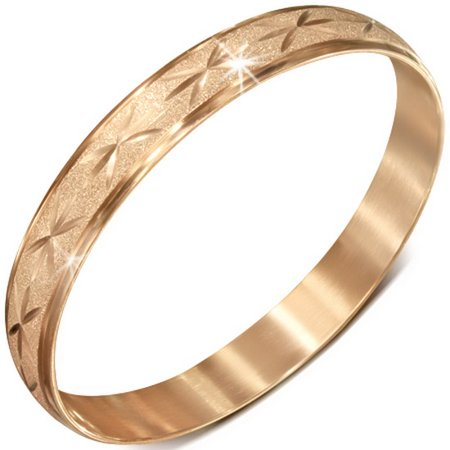 - Stainless Steel Rose Gold-Tone Glitter Classic Round Womens Bangle Bracelet