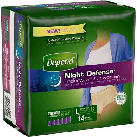 Depend Night Defense Underwear For Women Size L   14 Ct