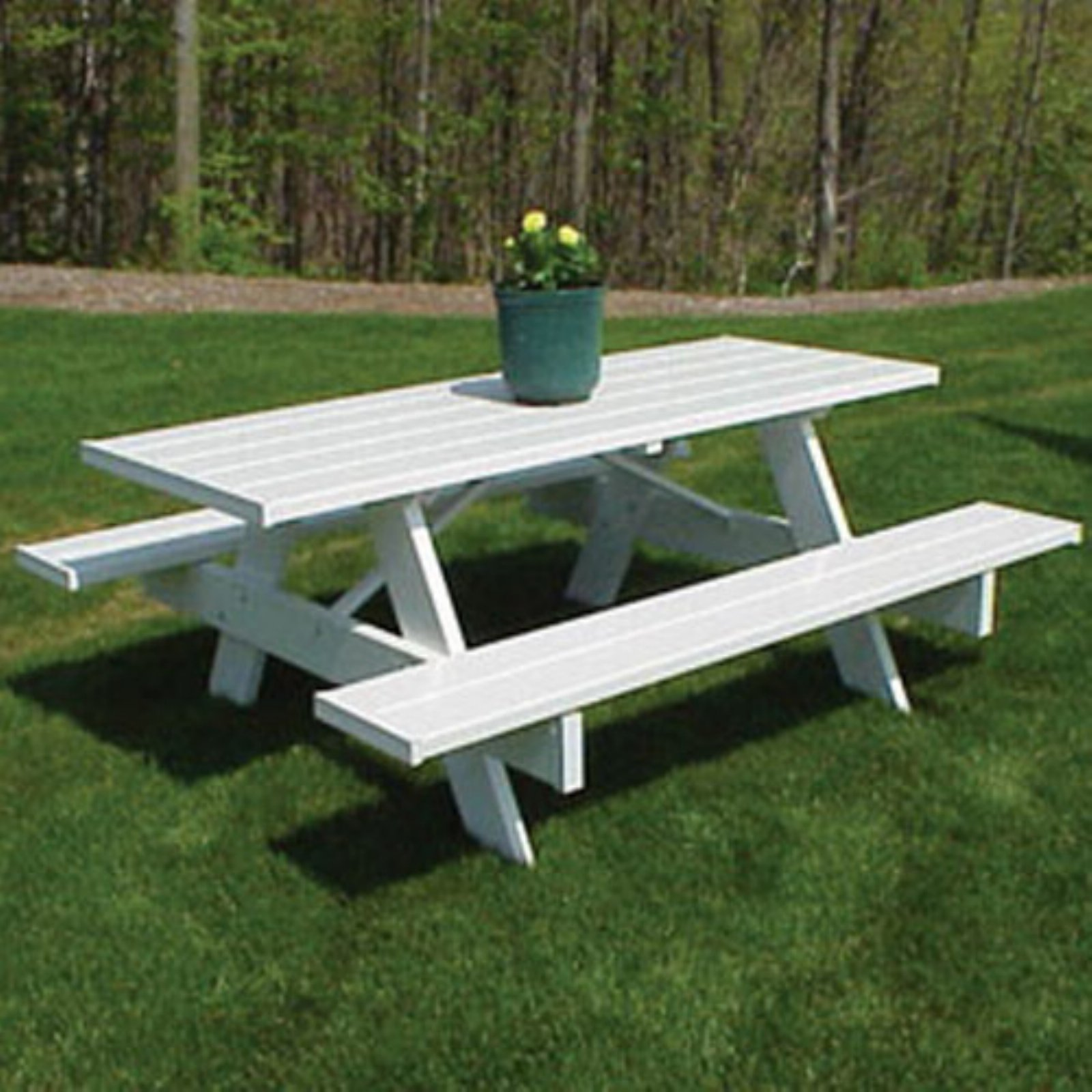 Lovely Dura Trel Traditional White Picnic Table