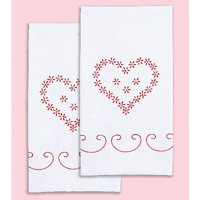 """""""Stamped White Decorative Hand Towel 17""""""""X28"""""""" One Pair-Valentine's Day"""""""