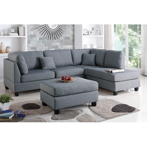 Bobkona Dervon Polyfabric Left or Right Hand Chaise Sectional with Ottoman Set Multiple Colors  sc 1 st  Walmart : left hand chaise - Sectionals, Sofas & Couches