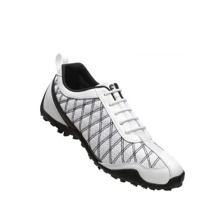 c/o Womens FootJoy 98951 10 Medium SuperLite White/Black Mesh Spikeless Golf (Footjoy Ladies Lopro Casual Spikeless Golf Shoes)