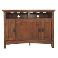 Wooden TV Stand with Three Door Cabinets and Two Media Cubbies, Brown