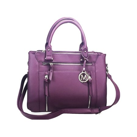 Leather Concealed - ZzFab Multi Zippers Fashion Locking Faux Leather Concealed Carry Gun Bag Purple