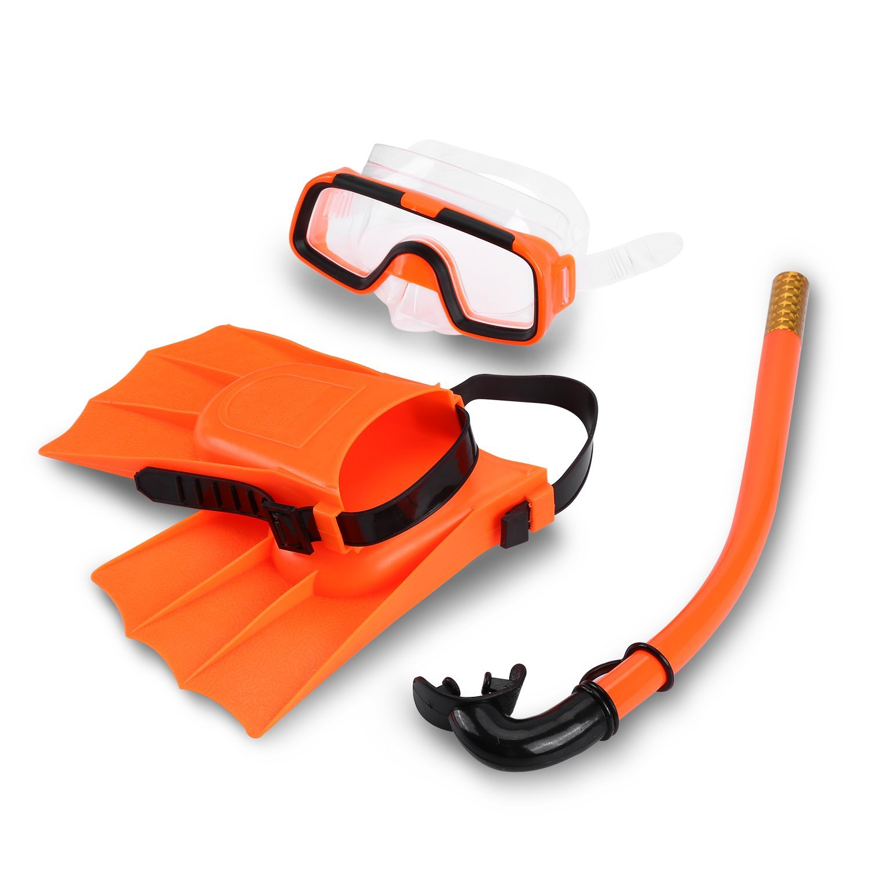 Qiilu Kids Swimming Diving Silicone Fins+Snorkel Scuba Eyeglasses+Quest Mask Diving Snorkel Set for Boys&Girls