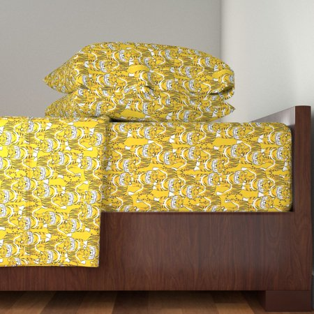 Animal Print Wild Jungle Print Mustard 100% Cotton Sateen Sheet Set by Roostery