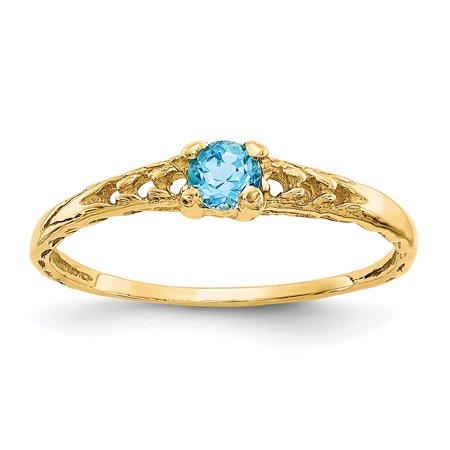 14K Yellow Gold Madi K 3 MM Blue Topaz December Birthstone Baby Ring, Size 3