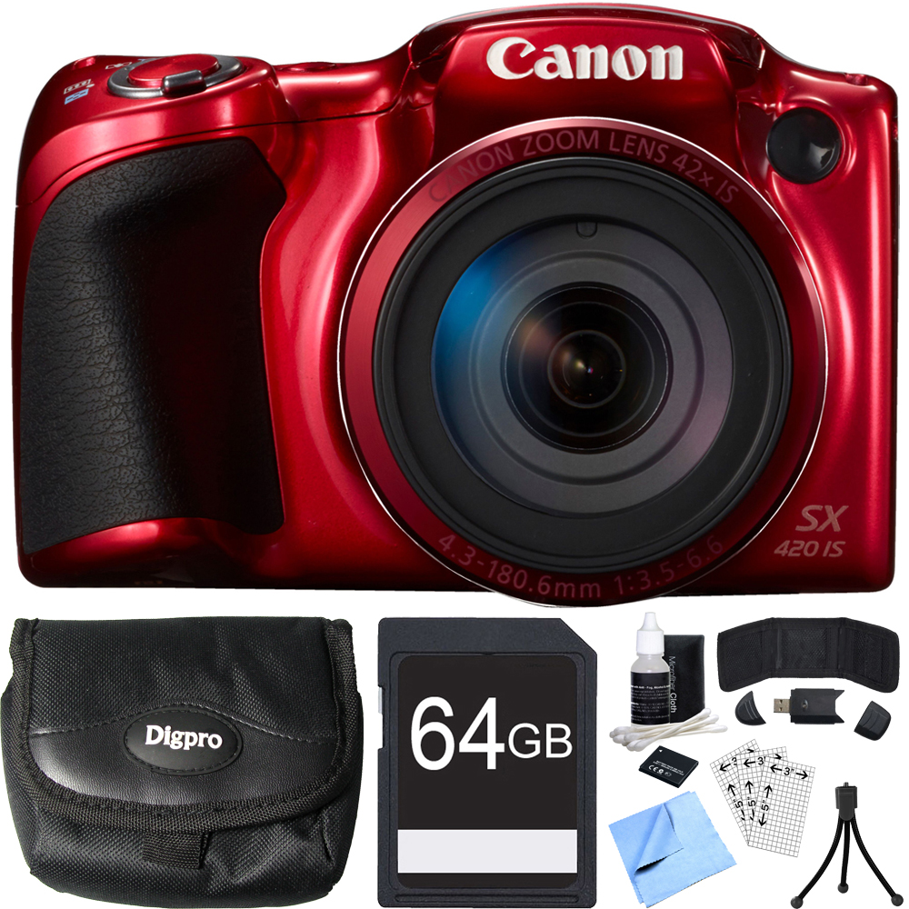 Canon PowerShot SX420 IS 20MP Red Digital Camera 64GB Card Bundle includes Camera, 64GB Memory Card, Reader, Wallet, Case, Battery, Mini Tripod, Screen Protectors, Cleaner and Beach Camera Cloth