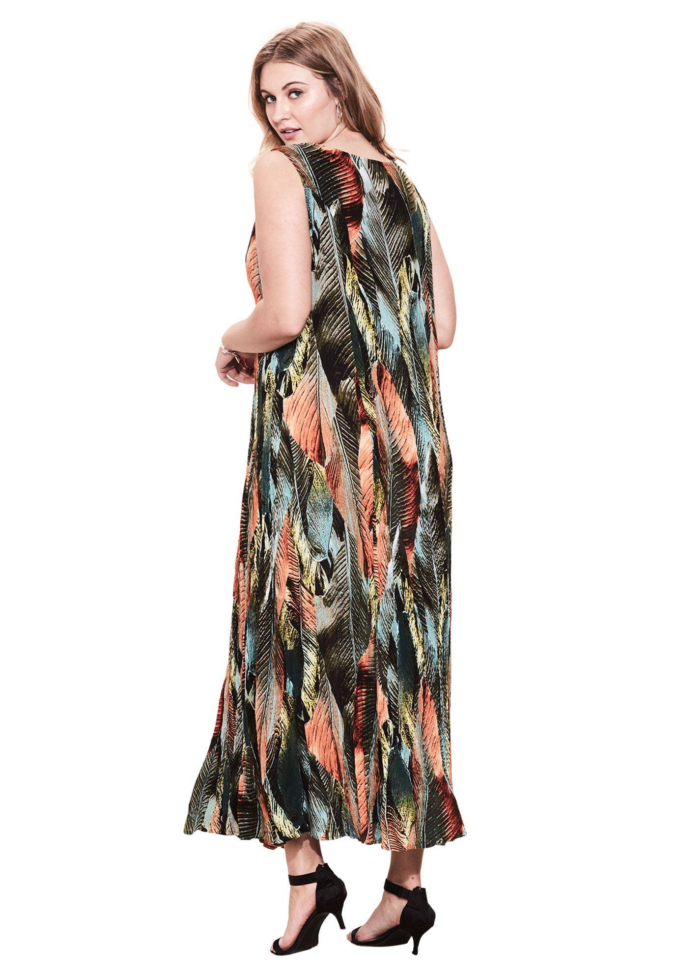 7d9fc4f2d Roaman's - Plus Size A-line Crinkle Maxi Dress - Walmart.com