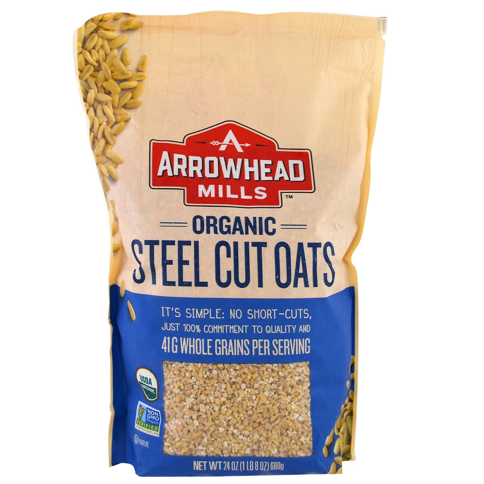 Arrowhead Mills, Organic Steel Cut Oats, Hot Cereal, 24 oz (pack of 6)