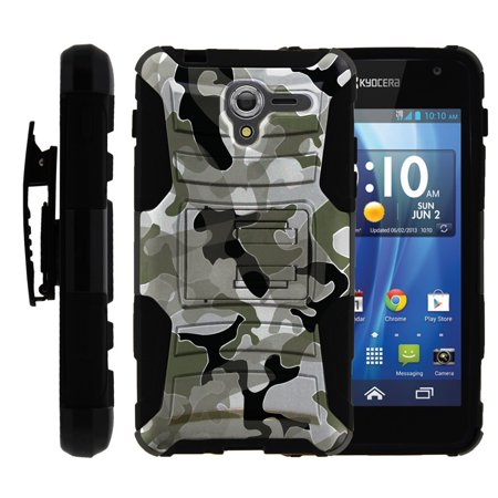 Kyocera Hydro View Case | Kyocera Hydro C6742 Case [ Clip Armor ] Rugged Dual Layered Case with Kickstand + Holster - Swamp Camouflage