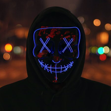 HDE LED Light Up Halloween Masks Flash and Glow for Rave, Festival, Cosplay (Blue) - Halloween Rave Underground