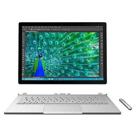 Microsoft Recertified FGH-00001 Surface Book, 8GB Memory, 128GB HDD, Intel Core i5-6300U, Intel HD Graphics 520, Silver, Windows 10 Professional
