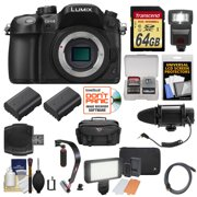 Panasonic Lumix DMC-GH4 4K Micro Four Thirds Digital Camera Body with 64GB Card + Case + Flash + 2 Batteries + Microphone & LED Light + Stabilizer Kit