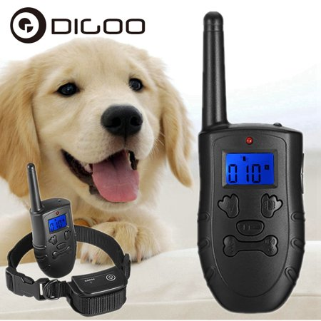 Digoo Dog Training Collar Rechargeable and Waterproof 330M Remote LCD Dog Shock Collar with Beep, Vibra and Shock Electronic (Esky Waterproof Electronic Fence Dog Shock Collar System)