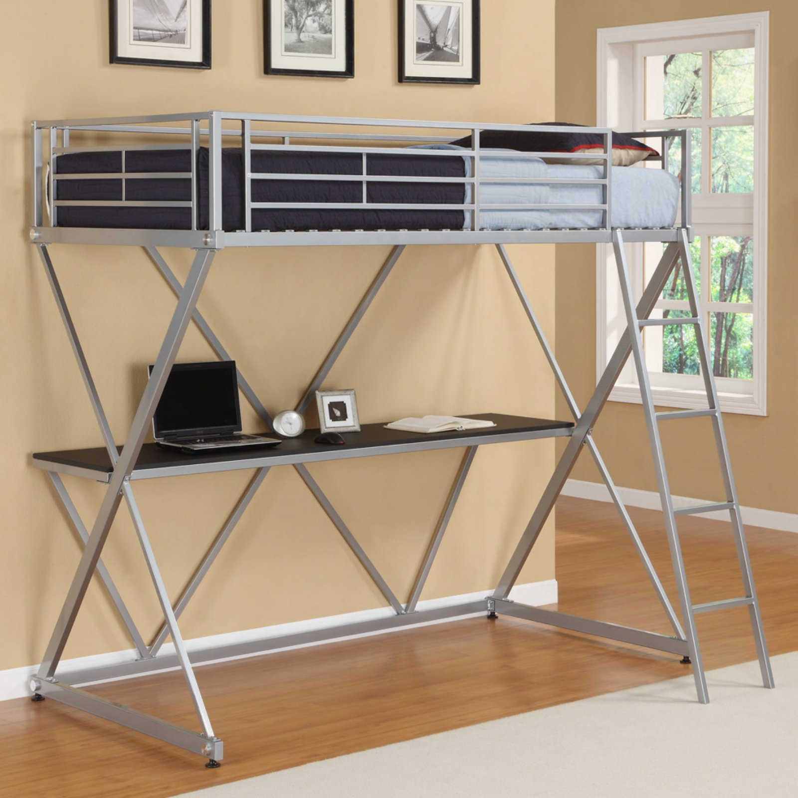 metal bunk bed with desk underneath. DHP Metal Loft Bed Over Desk Workstation Twin Size, Silver Metal Bunk Bed With Desk Underneath E