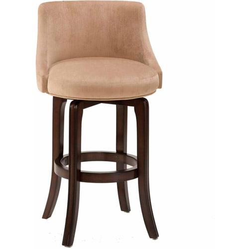 Napa Valley Swivel Bar Stool, Dark Brown Cherry Finish and Textured Khaki Fabric by Hillsdale Furniture LLC