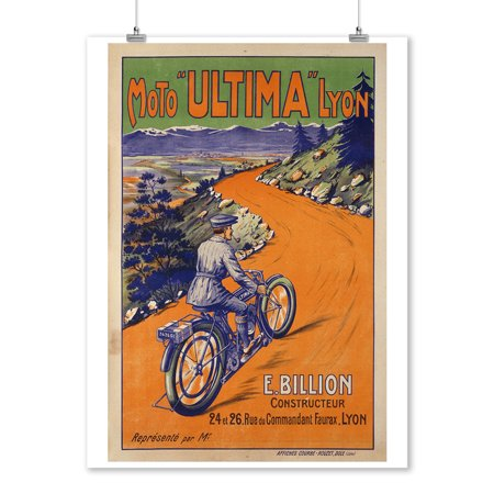 Moto Ultima Vintage Poster France  9X12 Art Print  Wall Decor Travel Poster