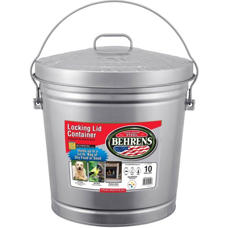 Behrens High Grade Steel 6110 10 Gal Silver Galvanized Steel Dry Storage Can with Locking Lid](Galvanized Bucket)
