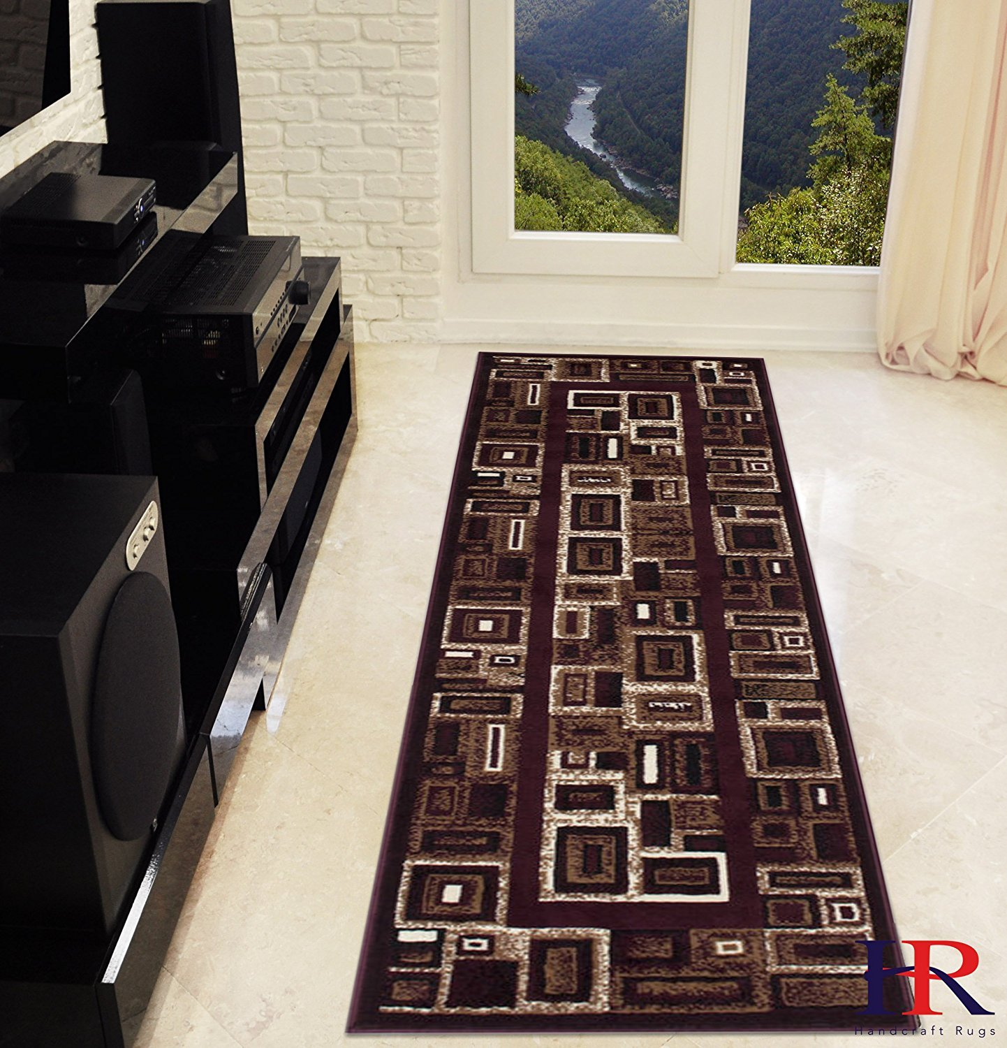 Modern Contemporary Abstract Rug- Frame/Boxy/Cube Pattern-Shed Free Burgundy Red/Beige/Ivory/Black
