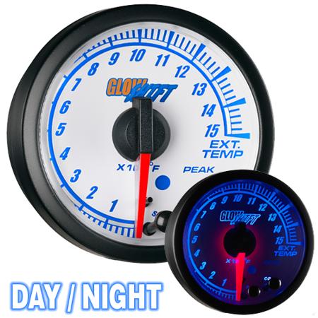 GlowShift White Elite 10 Color 1500 Exhaust Gas Temp EGT Pyrometer Gauge