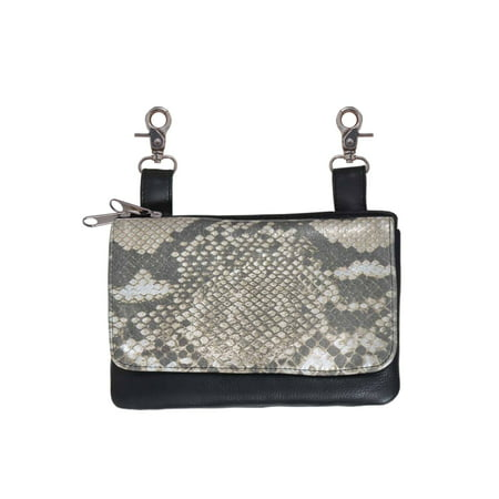 - Shimmer Snake Print Leather Belt Clip Purse