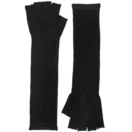 Black Knit Fingerless Long Gloves Arm Warmers](Black Arm Warmers)