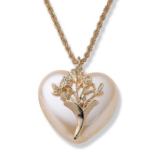 Palm Beach Jewelry Goldtone Simulated Pearl Heart Pendant