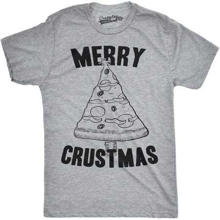 Crazy Dog Tshirts   Mens Merry Crustmas Funny Pizza Christmas Tree Holiday Party T Shirt