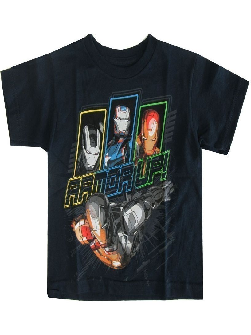 "Marvel Little Boys Navy Iron Man ""Armor Up"" Print Short Sleeve Tee"