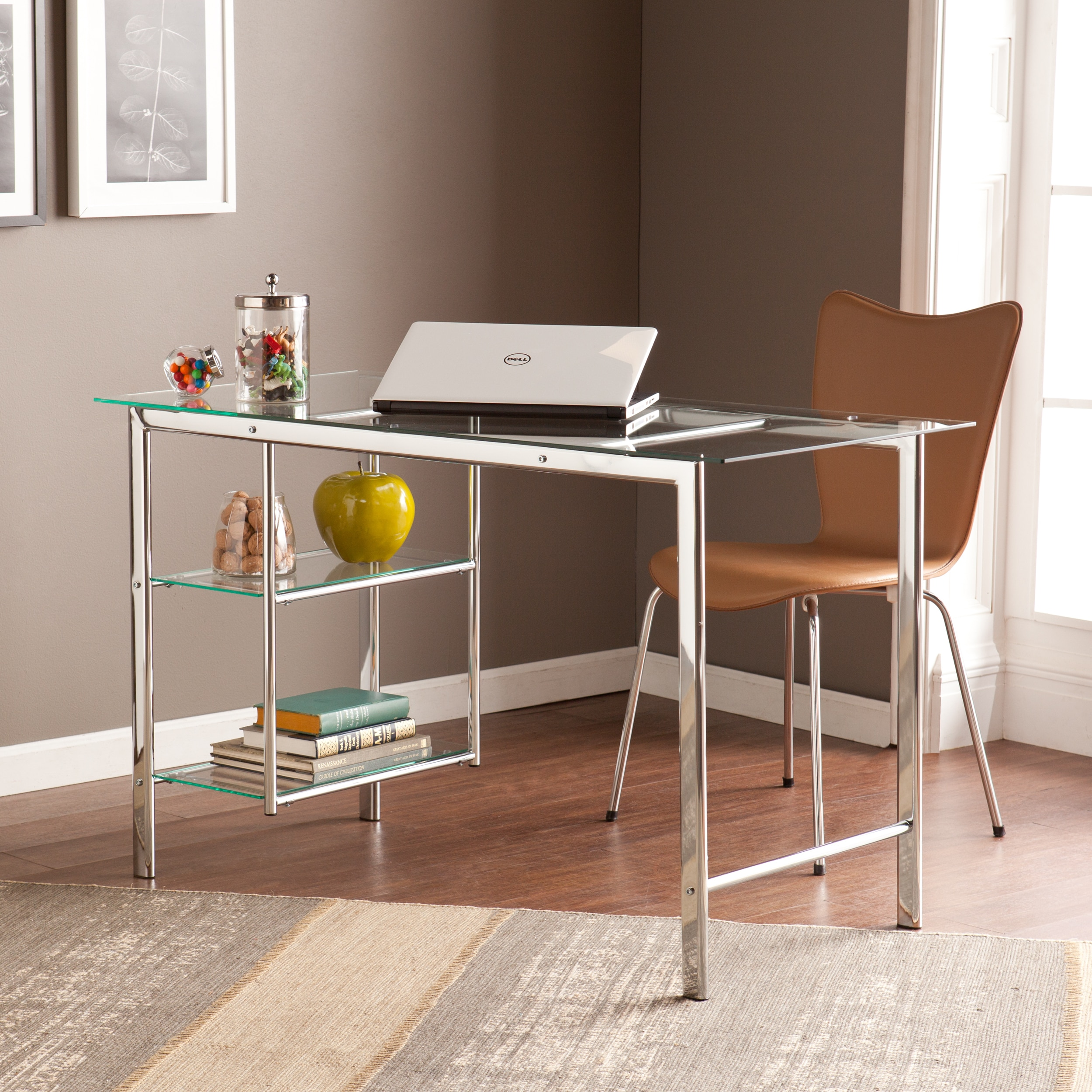 Harper blvd orsin chrome glass desk walmart com