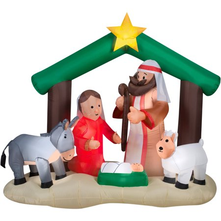 7 airblown inflatable holy family nativity scene christmas inflatable - Home Depot Inflatable Christmas Decorations