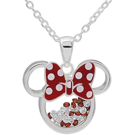 Fine Silver-Tone Minnie Mouse Crystal Shaker Pendant with -