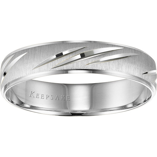 Keepsake Wonder Slashed Engraved Wedding Band in 10kt White Gold