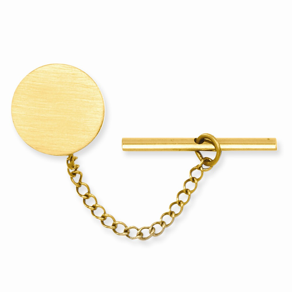 Gold-plated Engravable Round Satin Tie Tack. Lovely Leatherrete Gift Box Included